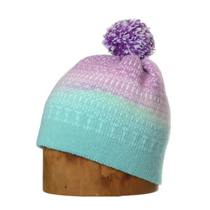 Minter Hand Dyed Merino Wool Bobble Beanie Hat Turple - men's accessories