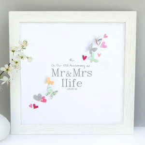 Personalised 10th Wedding Anniversary Butterfly Artwork - mixed media & collage