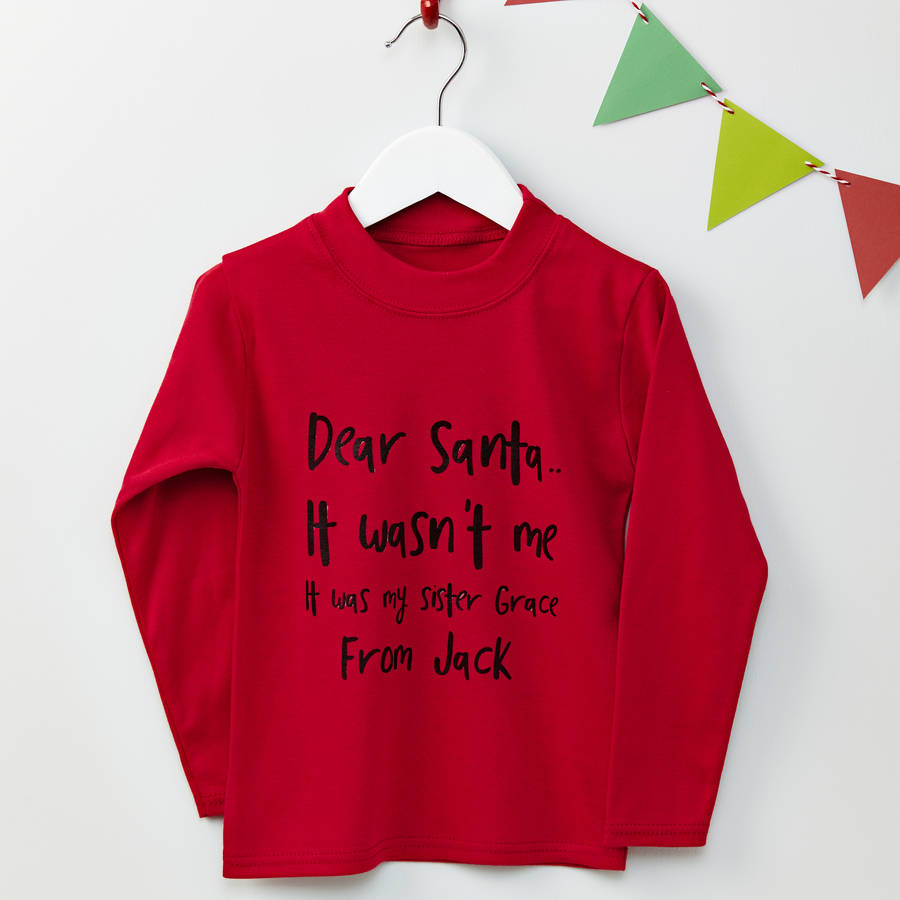 Tillie Mint Personalised Dear Santa Red Christmas Jumper
