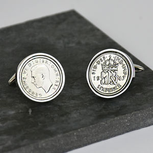 Sixpence Sterling Silver Cufflinks 1928 To 1967 - men's accessories