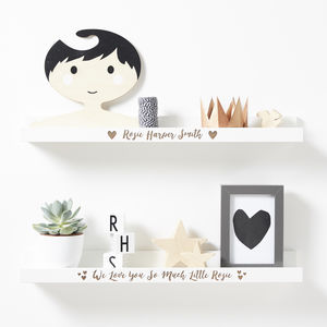Personalised New Baby Heart Shelf - shelves