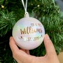 Personalised Copper Wedding Bauble Decoration