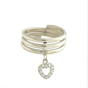 Diamond Heart Charm Ring - rings