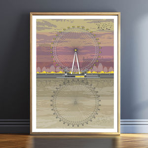 London Eye Sunset Architectural Print