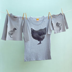 Cockerel, Hen And Chick Matching Family T Shirt Set - outfits & sets