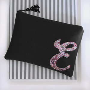 Black Or Navy Satin Zip Top Clutch