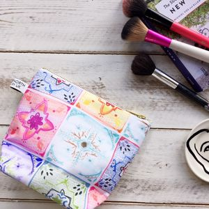 Mediterranean Tile Waterproof Make Up Bag