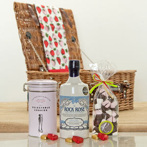 Rock Rose Gin And Sweet Treat Hamper - picnic hampers & baskets