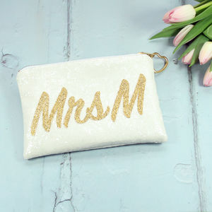 Personalised Mrs Bridal Clutch Bag - personalised