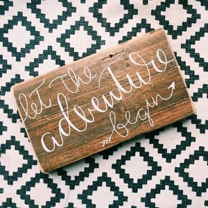 'Let The Adventure Begin' Wooden Wedding Sign - decorative accessories