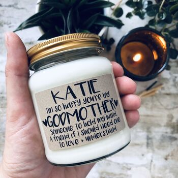 Personalised 'I'm So Happy You're My Godmother' Candle