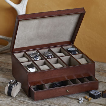 Large Leather Watch Box For 10 Watches