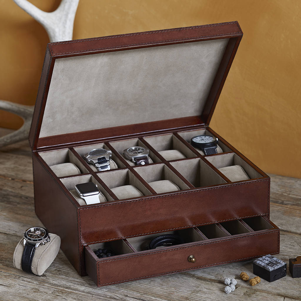 Large leather watch and jewellery box for 10 watches by life of riley for Watches box