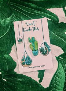 Gold And Blue Cactus Enamel Pin