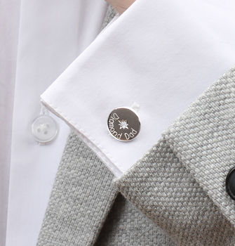 Personalised Diamond And Sterling Silver Cufflinks