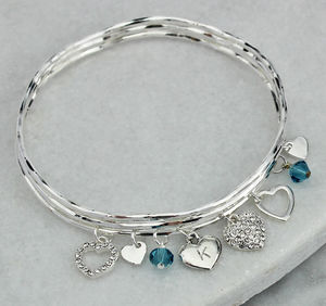 Personalised Diamante Heart Charm Bangle Set