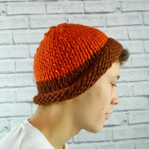 Mens Orange And Brown Colour Block Beanie Hat