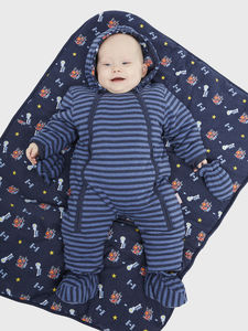 Indigo And Blue Marl Pramsuit - coats & jackets