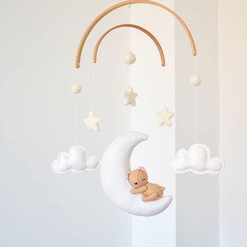 Sleeping Teddy Bear With Clouds And Stars Mobile
