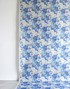 Rosa Blue Fabric - throws, blankets & fabric