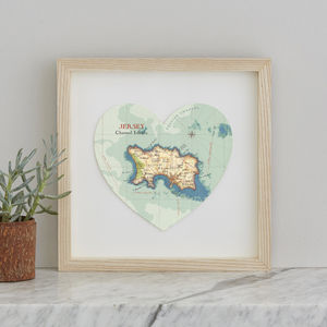 Personalised Location Jersey Map Heart Print - maps & locations