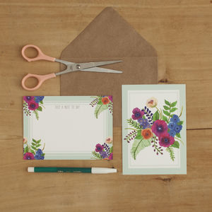 Anemone Bouquet Notelet Set - blank cards