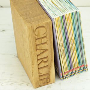 Personalised Solid Oak Bookend - decorative accessories