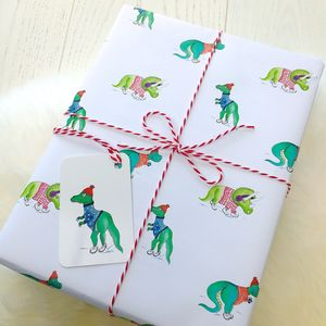 Ice Skating Dinosaurs Christmas Wrapping Paper Pack - wrapping