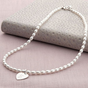 Girls Personalised Silver Charm And Pearl Hope Necklace