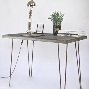 Concrete Desk Table With Steel Legs - dining tables