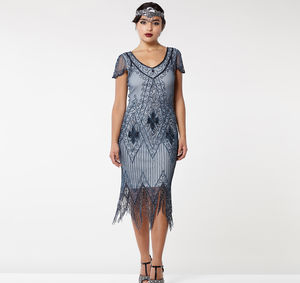 Gatsbylady Annette Fringe Flapper Dress In Blue Grey - flapper dresses