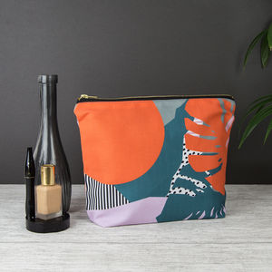 Large Orange Tropical Leaves Wash Bag/ Toiletry Bag - make-up bags