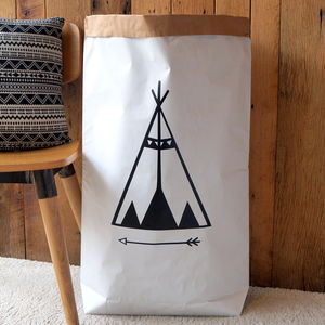 Teepee Paper Storage Bag - laundry room