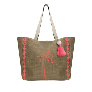 Aspiga Palm Tree Jute Beach Bag - womens