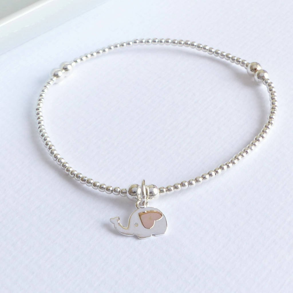 Sterling Silver Elephant Charm Beaded Bracelet By Evy Designs Notonthehighstreet