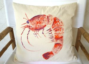 Christabel's Hand Painted Prawn Cushion - new in