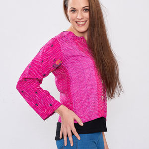Pink Pure Silk Hand Stitched Ladies Jacket - jackets