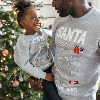 Santa Stop Here! Personalised Christmas Jumper
