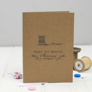 Second Wedding Anniversary Card Cotton - wedding, engagement & anniversary cards