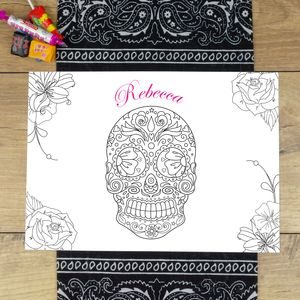 Personalised Halloween Sugar Skull Colour In Placemat - placemats & coasters