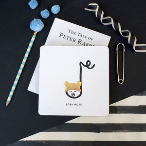 'Baby Note' New Born Baby Music Note Card