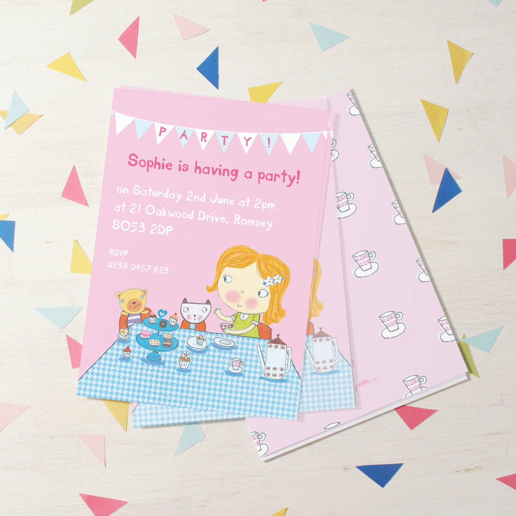 personalised girls tea party invitations by made by ellis ...