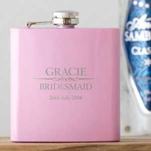Bridesmaids Thank You Personalised Pink Hip Flask - one week to go
