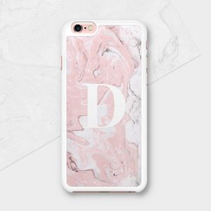 Pink Marble Personalised Initial Phone Case - gadgets & cases