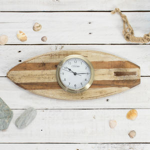'Surf's Up' Surfboard With Clock Or Tide Clock - bedroom