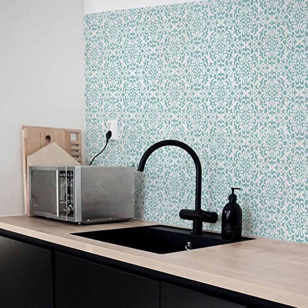 vintage flower kitchen walls backsplash wallpaper by lime lace ...