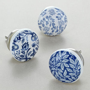 Royal Blue Ceramic Door Knobs - storage & organisers