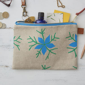 Nigella Floral Linen Zipped Purse