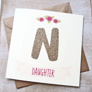 Rose Gold Personalised Initial Daughter Birthday Card - birthday cards