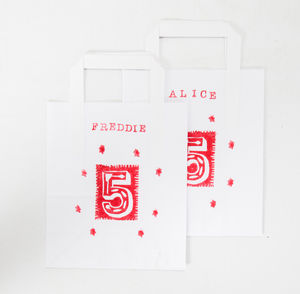 Personalised Paper Party Bags With Thank You Cards